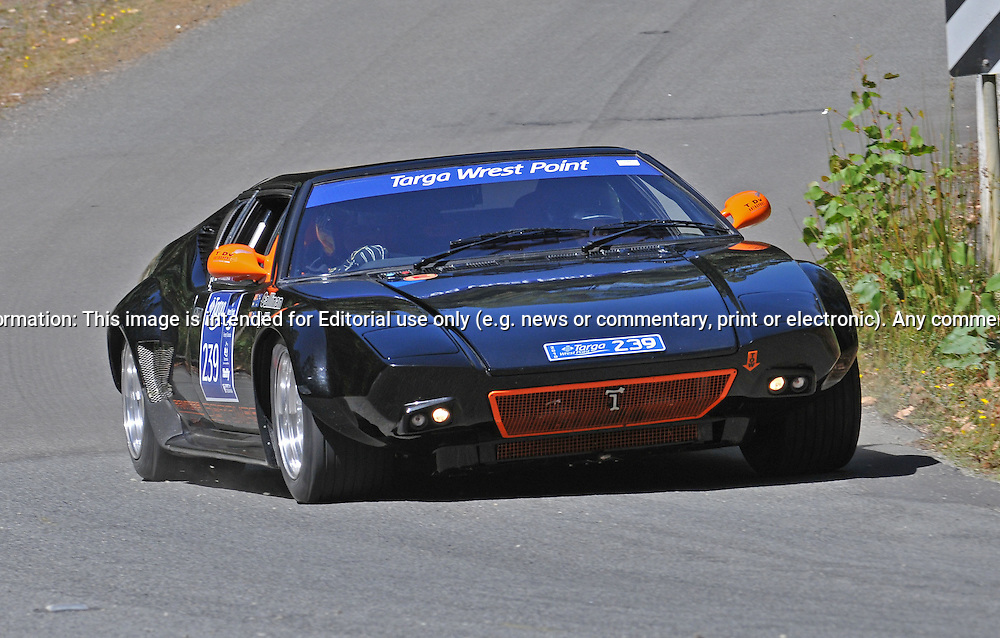 239 Keith Callinan & Mary-Anne Callinan..1972 DeTomaso Pantera.Day 1.Targa Wrest Point 2010.Southern Tasmania.30th of January 2010.(C) Joel Strickland Photographics.Use information: This image is intended for Editorial use only (e.g. news or commentary, print or electronic). Any commercial or promotional use requires additional clearance.