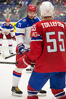 Ishockey<br /> VM 2015<br /> Russland v Norge 6:2<br /> 01.05.2015<br /> Foto: imago/Digitalsport<br /> NORWAY ONLY<br /> <br /> Ilya Kovalchuk (RUS) getting ready for bully against Ole-Kristian Tollefsen (NOR).