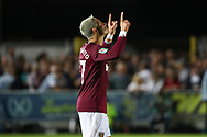 West Ham United attacker Javier Hernandez (17) celebrating after scoring goal to make it 1-3 during the EFL Carabao Cup 2nd round match between AFC Wimbledon and West Ham United at the Cherry Red Records Stadium, Kingston, England on 28 August 2018.