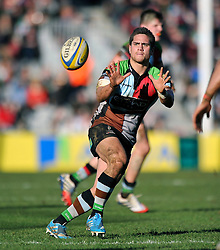 Ben Botica (Harlequins) looks to receive the ball - Photo mandatory by-line: Patrick Khachfe/JMP - Tel: Mobile: 07966 386802 01/03/2014 - SPORT - RUGBY UNION - The Twickenham Stoop, London - Harlequins v Worcester Warriors - Aviva Premiership.