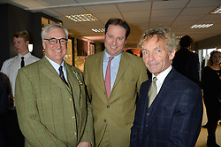 Left to right, MAURICE HENNESSY, JO THORNTON and JOHN FRANCOME at the 2015 Hennessy Gold Cup held at Newbury Racecourse, Berkshire on 28th November 2015.