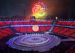 March 9, 2018 - Pyeongchang, South Korea - Fireworks burst during the final moments of the Opening Ceremony for the 2018 Pyeongchang Winter Paralympic Games. (Credit Image: © Mark Reis via ZUMA Wire)