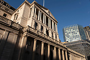 As Londoners await the second coronavirus national lockdown the Bank of England in the City of London braces itself for the economic hardship to come a few days before a month-long total lockdown in the UK on 2nd November 2020 in London, United Kingdom. The three tier system in the UK has not worked sufficiently, to suppress the virus, and there have have been calls by politicians for a 'circuit breaker' complete lockdown to be announced to help the growing spread of the Covid-19.