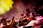 Holi festival, India, on wednesdayday, mar. 11, 2009. people sings inside the bankey Bihari tempel