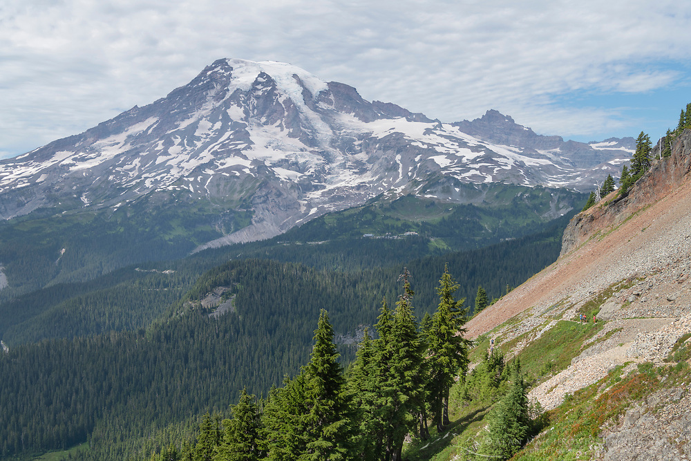 Hikers on Pinnacle Peak Trail. Mount Rainier National Park, Washington
