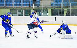 ZIGA JEGLIC of Slovenia vs Vitaliy Kolesnik of Kazakhstan during Friendly Ice-hockey match between National teams of Slovenia and Kazakhstan on April 9, 2013 in Ice Arena Tabor, Maribor, Slovenia.  (Photo By Vid Ponikvar / Sportida)