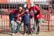 Three generations of Middlesbrough fans with tickets ahead of the EFL Sky Bet Championship match between Middlesbrough and Bournemouth at the Riverside Stadium, Middlesbrough, England on 19 September 2020.