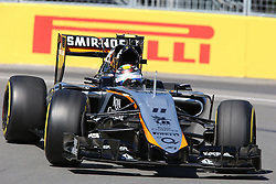 06.06.2015, Circuit Gilles Villeneuve, Montreal, CAN, FIA, Formel 1, Grand Prix von Kanada, Qualifying, im Bild Sergio Perez (MEX) Force India VJM08 // during Qualifyings of the Canadian Formula One Grand Prix at the Circuit Gilles Villeneuve in Montreal, Canada on 2015/06/06. EXPA Pictures © 2015, PhotoCredit: EXPA/ Sutton Images/ Mirko Stange<br /> <br /> *****ATTENTION - for AUT, SLO, CRO, SRB, BIH, MAZ only*****