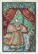 Elizabeth I (1533-1603) Queen of England and Ireland from 1558. Elizabeth at prayer. Frontispiece to 'Christian Prayers' 1569