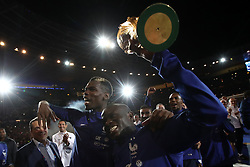 September 9, 2018 - Paris, 93, France - Paul Pogba, N'Golo Kante of France celebrate with the World Cup Trophy after the UEFA Nations League A group official match between France and Netherlands at Stade de France on September 9, 2018 in Paris, France. This is the first match of the French football team at the Stade de France since their victory in the final of the World Cup in Russia. (Credit Image: © Mehdi Taamallah/NurPhoto/ZUMA Press)