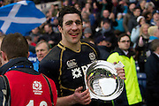 09.02.2013 Edinburgh, Scotland.    Scotland Capt Kelly Brown with the Silver Quaich after the 12-8 win over Ireland in the RBS Six Nations Championship match between Scotland and Ireland, from Murrayfield Stadium.