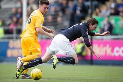 Morton's Ross Forbes brings down Falkirk's Blair Alston. <br /> Falkirk 1 v 0 Morton, Scottish Championship game  played 1/5/2016 at The Falkirk Stadium.
