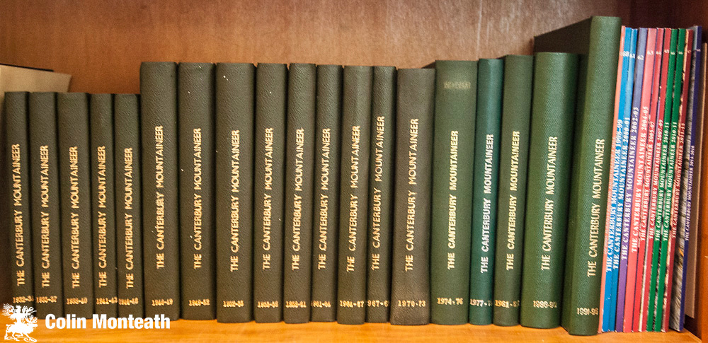 THE CANTERBURY MOUNTAINEER -  a complete set from #1 in 1932 to present day - beautifully bound in matching green cloth with gilt titles - a rare opportunity to add this set of valuable journals to your New Zealand mountain library...individual issues of the early number now almost impossible to find - a heavy set so postage will have to be charged at cost...pick ups welcome. $NZ1250 (Bill King Collection)