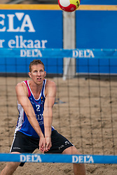 Christiaan Varenhorst in action. The DELA NK Beach volleyball for men and women will be played in The Hague Beach Stadium on the beach of Scheveningen on 22 July 2020 in Zaandam.
