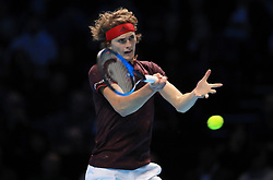 Alexander Zverev during day five of the NITTO ATP World Tour Finals at the O2 Arena, London. PRESS ASSOCIATION Photo. Picture date: Thursday November 16, 2017. See PA story TENNIS London. Photo credit should read: Adam Davy/PA Wire. RESTRICTIONS: Editorial use only, No commercial use without prior permission