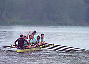 Greater London. United Kingdom, 1Cambridge University Celebrate after taking a commanding  win over Oxford in the 164th. Men's University Boat Race ,  Putney to Mortlake,  Championship Course, River Thames, London. <br /><br />Saturday  24/03/2018<br /><br />[Mandatory Credit:Intersport Images]