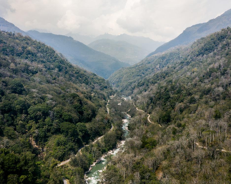 Driving from Thimpu to Gasa, the start of the trek, along the Mo chhu river.