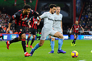 Felipe Anderson (8) of West Ham United battles for possession with Joshua King (17) of Bournemouth during the Premier League match between Bournemouth and West Ham United at the Vitality Stadium, Bournemouth, England on 19 January 2019.
