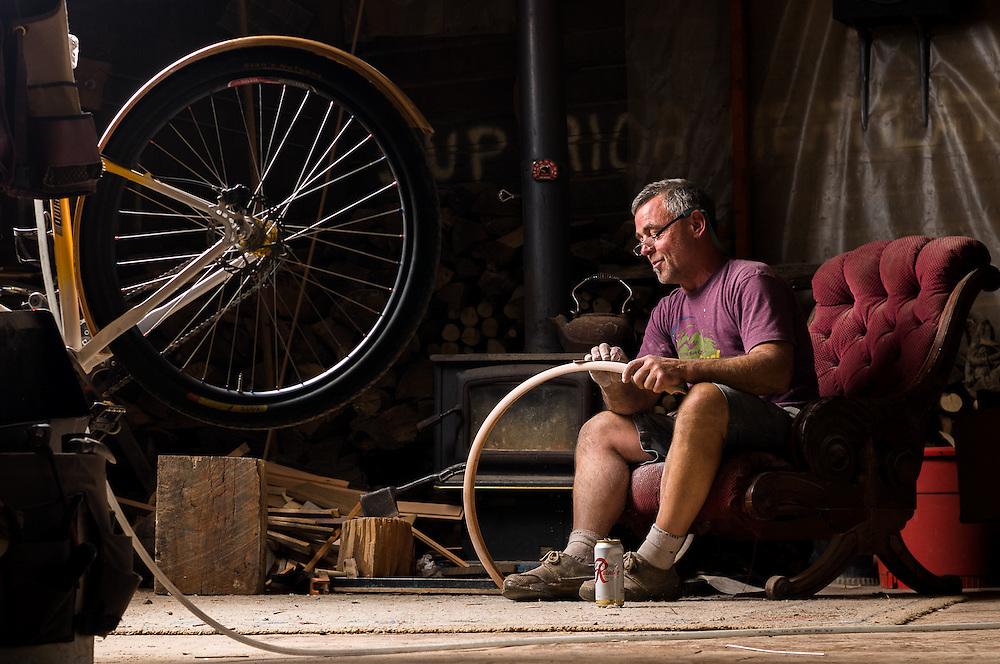 Tom Anderson hand makes wooden fenders in his shop in Bellingham, WA.