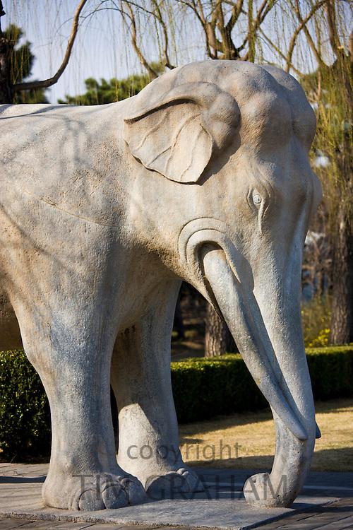 Statue of a standing elephant, Spirit Way, Ming Tombs, Beijing (Peking), China