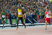 Mcc0055084 . Daily Telegraph<br /> <br /> Jamaica's Usain Bolt finishes the 4x100 Relay Final winning Gold on Day 10 of the 2014 Commonwealth Games in Glasgow .<br /> <br /> <br /> Glasgow 2 August 2014
