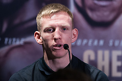 London, UK. 14th January, 2019. Ted Cheeseman speaks at the press conference for a Matchroom Boxing card at the 02 on 2nd February where he will head the bill in a 12 x 3 mins contest against European Super-Welterweight Champion Sergio Garcia.