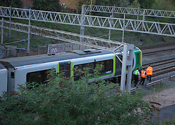 © under license to London News Pictures.  .11/04/2011 Woman Dies in Fire on London Bound train. A woman passenger dies tonight when a fire broke out in the toilet of a london bound train. the train stopped 400 yards short of Leighton Buzzard station and the rest of the passengers were let of the train and walked to the station. No trains were running into and out of Euston as the power lines were switched off..Photo credit should read Craig Shepheard / London News Pictures