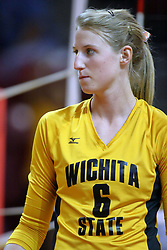 23 October 2010: Emily Adney during an NCAA, Missouri Valley Conference volleyball match between the Wichita State Shockers and the Illinois State Redbirds at Redbird Arena in Normal Illinois.