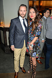 Chef JASON ATHERTON and his wife IRHA at the GQ Food & Drink Awards 2016 presented by Veuve Clicquot held at 100 Wardour Street, Soho, London on 26th April 2016.