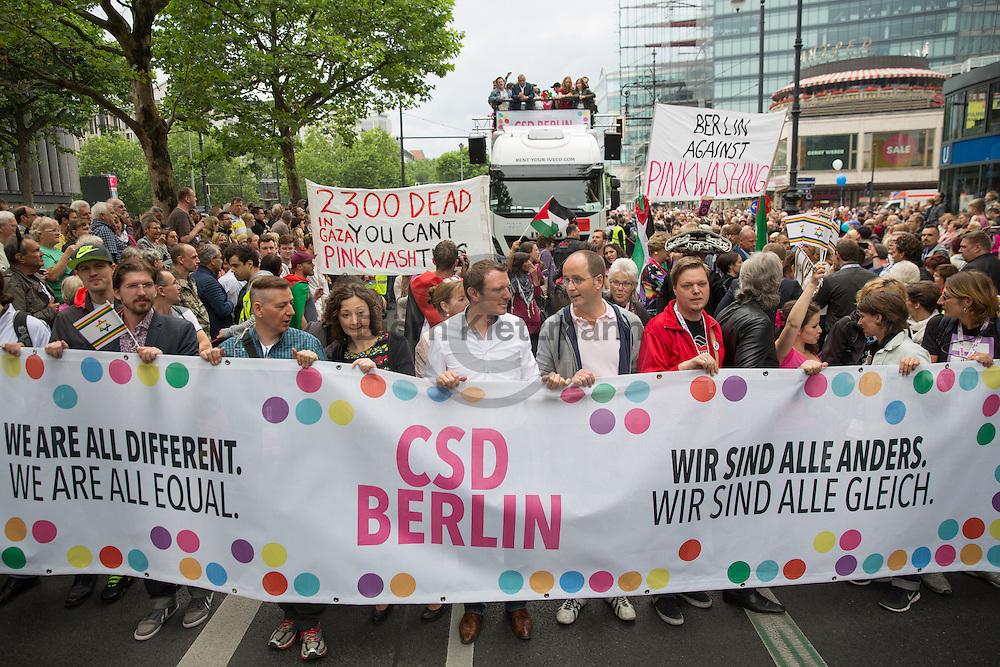 """Berlin, Germany - 27.06.2015 <br /> <br /> 37. Berlin Christopher Street Day parade under the slogan """"We are all different. We are all equal"""". Hundreds of thousands participate in the Berlin Pride 2015 to protest for the rights of gays, lesbians, transsexuals, transgender, inter- and bisexuals.<br /> <br /> 37. Berliner Christopher Street Day Parade unter dem Motto  """"Wir sind alle anders. Wir sind alle gleich"""". Hunderttausende beteiligen sich am Berlin Pride 2015 um für die Rechte von Schwulen, Lesben, Transsexuellen, Transgendern, Inter- und Bisexuellen zu protestieren.<br /> <br /> Photo: Bjoern Kietzmann"""