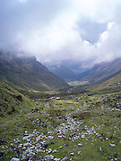 Looking down the valley of the Rio Humantay on an overcast day, descending from Salkantay Pass, Peru.