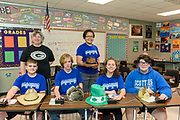 The Glasgow High School Quiz Bowl team members are, from left, Whit Muhlenkamp,  14, 8th grade, William Parocai, 14, 8th grade, Gabbie Houchens, 14, 8th grade and Andres Garcia, 14, 8th grade. Behind them are their substitute player, Tayvcon? Wood, 14, 8th grade, and coach, Laura Cline (270-991-5203.)<br /> <br /> Teams compete in the preliminary rounds of the 2019 Kentucky Quiz Bowl Alliance Middle School State championship Saturday, April 27, 2019, at Noe Middle School in Louisville, Ky. (Photo by Brian Bohannon)