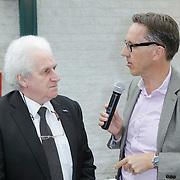 NLD/Amsterdam/20120614 - Presentatie wielerblad Tour Express, Rini Wagtmans word geinterviwd door Gio Lippens