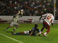 Photo: Mark Stephenson.<br /> Walsall v Aston Villa. Pre Season Friendly. 07/08/2007.Walsall's Ishmel Demontagnac gets the better of Villa's Shane Lowry and shoots for goal