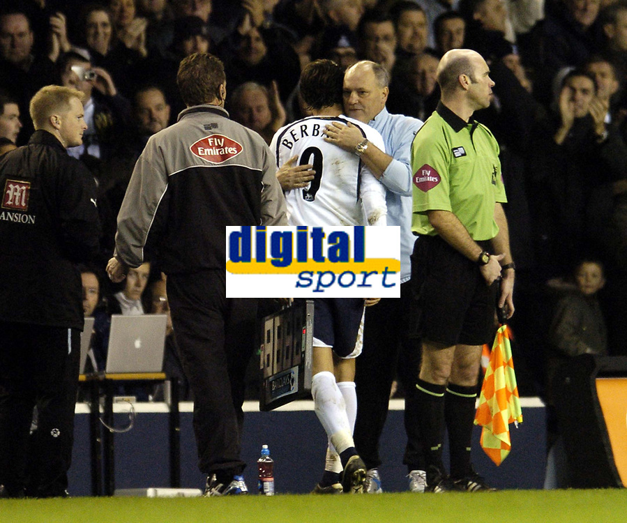 Photo: Olly Greenwood.<br />Tottenham Hotspur v Charlton Athletic. The Barclays Premiership. 09/12/2006. Spurs manager Martin Jol congratulates Dimitar Berbatov after being subbed