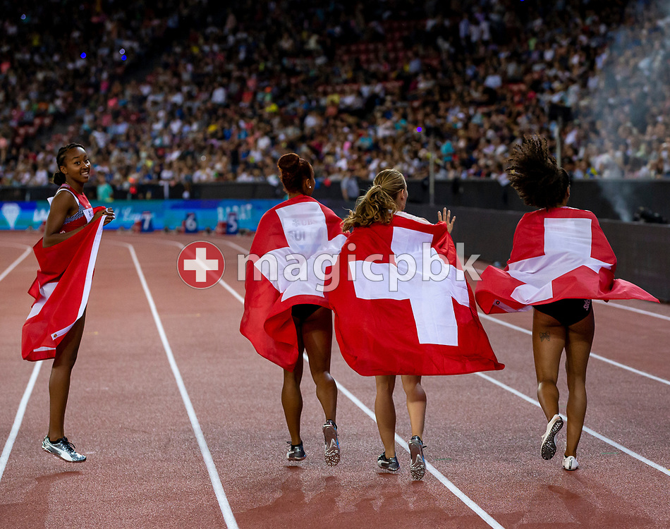 Team Switzerland with Ajla del PONTE, Sarah ATCHO, Mujinga KAMBUNDJI and Salome KORA on their lap of honor after competing in the Women's 4x100m Relay - Zurich Trophy - during the Iaaf Diamond League meeting (Weltklasse Zuerich) at the Letzigrund Stadium in Zurich, Switzerland, Thursday, Aug. 29, 2019. (Photo by Patrick B. Kraemer / MAGICPBK)