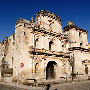 Ruins of a church in Antigua Guatemala. Famous for its well-preserved Spanish baroque architecture as well as a number of ruins from earthquakes, Antigua Guatemala is a UNESCO World Heritage Site and former capital of Guatemala.