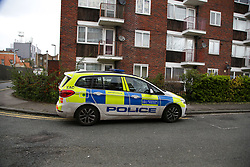 © Licensed to London News Pictures. 26/03/2021. London, UK. Police car on Kent Street in Newham, East London following death of an elderly woman. Police were called just after 10pm on Thursday, 25 March and found the 76-year-old woman dead. A man aged in his 30s was arrested at the scene on suspicion of murder and remains in police custody. Photo credit: Dinendra Haria/LNP