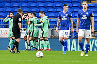 Football - 2019 / 2020 Emirates FA Cup - Third Round: Cardiff City vs. Carlisle United<br /> <br /> Cardiff look despondent as Harry McKirdy of Carlisle celebrates scoring his team's second goal, at Cardiff City Stadium.<br /> <br /> COLORSPORT/WINSTON BYNORTH