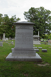 26 August 2017:   A part of the History of McLean County Illinois.<br /> <br /> Tombstones in Evergreen Memorial Cemetery.  Civic leaders, soldiers, and other prominent people are featured.<br /> <br /> Stevenson - Scott memorial