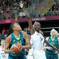 30 July 2012: Emilie Gomis of France defends on Elizabeth Cambage of Australia during the 74-70 Team France overtime victory over Team Australia, during the women's basketball preliminary, at the Basketball Arena, in London, Great Britain.
