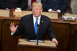January 30, 2018 - Washington, District Of Columbia, U.S. - United States President DONALD J. TRUMP delivers the State Of The Union Address to a joint session of the Congress at the United States Capitol. (Credit Image: © Alex Edelman via ZUMA Wire)