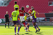 Bristol City's Famara Diédhiou (9) heads towards goal during the EFL Cup match between Bristol City and Exeter City at Ashton Gate, Bristol, England on 5 September 2020.