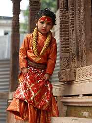 September 4, 2017 - Kathmandu, Nepal - A little girl dressed up as Living Goddess Kumari attends Kumari Puja procession organized during the celebration of Indrajatra festival in Kathmandu,Nepal. Hundreds of small girls aged less than nine participated in Kumari Puja or girls mass worship ceremony. (Credit Image: © Archana Shrestha/Pacific Press via ZUMA Wire)