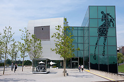 View of car museum building at Autostadt in Wolfsburg Germany