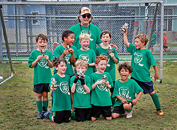 12 April 2014. Carrolton Boosters Soccer. New Orleans, Louisiana. <br /> U8 Championship final. Team Ireland emerge victorious in a 5-3 win over the Fireballs. Champions every one of them - both teams.<br /> Team Ireland. L/R Back row; Nicky Ettinger, Angel Sutherland, Deacon Gibson, Coach Robert Bell, Pierre Wilson, Ben Varley.<br /> Front; Julian Weiner, Brody Bell, Wiley Kessler, Escher Villalobos. <br /> Photo; Charlie Varley