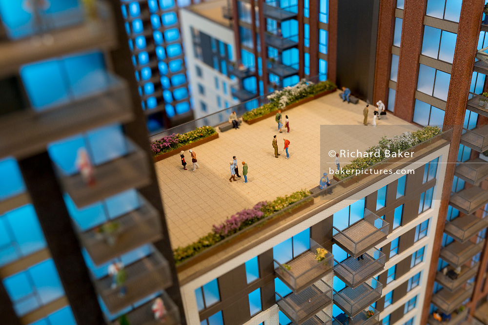 A scale model of a future apartment development, in the Embassy Gardens marketing suite in Nine Elms, on 7th July 2018, in London, England.