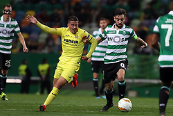 February 14, 2019 - Lisbon, Portugal - Villarreal's midfielder Pablo Fornals vies with Sporting's midfielder Bruno Fernandes from Portugal (R ) during the UEFA Europa League Round of 32 First Leg football match Sporting CP vs Villarreal CF at Alvalade stadium in Lisbon, Portugal on February 14, 2019. (Credit Image: © Pedro Fiuza/ZUMA Wire)
