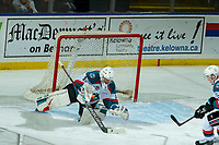 KELOWNA, CANADA - JANUARY 4:  James Porter #1 of the Kelowna Rockets makes a first period save against the Prince George Cougars on January 4, 2019 at Prospera Place in Kelowna, British Columbia, Canada.  (Photo by Marissa Baecker/Shoot the Breeze)