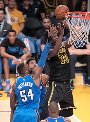 February 8, 2018 - Los Angeles, California, U.S - Julius Randle #30 of the Los Angeles Lakers drives to the basket during their NBA game with the Oklahoma Thunder on Thursday February 8, 2018 at the Staples Center in Los Angeles, California. Lakers defeat Thunder, 106-81. (Credit Image: © Prensa Internacional via ZUMA Wire)